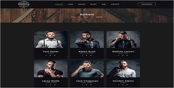 Professional Barber Shop & Hair Salons PSD Template