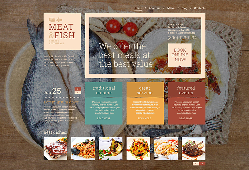 Beautiful Restaurant WordPress Template 2015