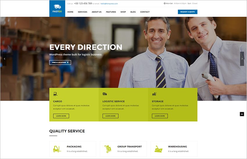 Transport & Logistics Business WordPress Theme