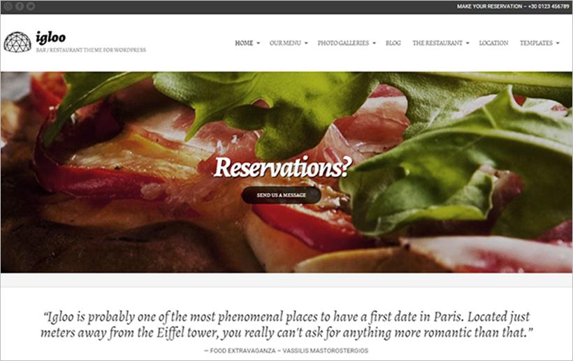 WordPress Bar&Restaurant Template