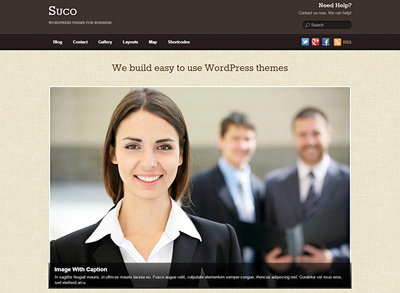 WordPress Business Theme With Header And Footer Custom Menu