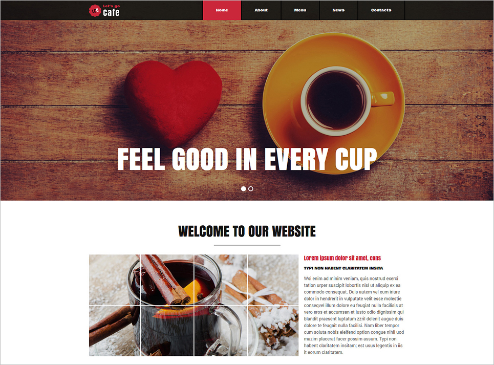 Advanced Joomla Template for Cafe