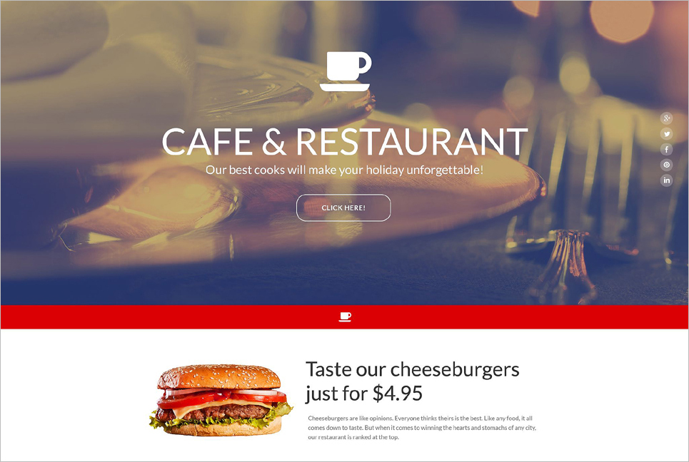 Cafe & Restaurant Landing Page Template