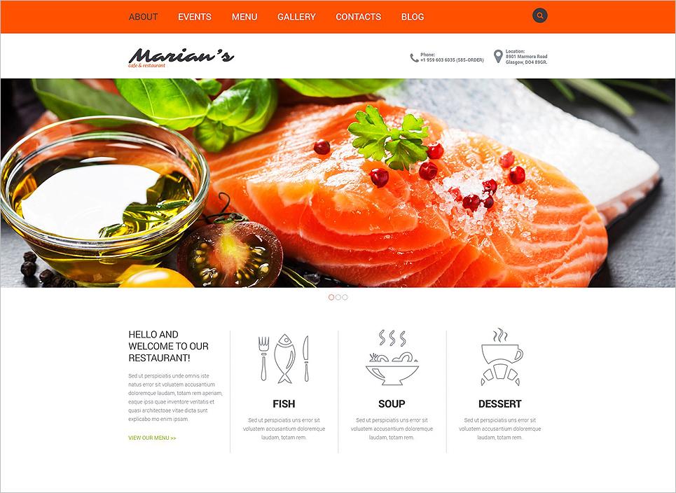 European Cafe & Restaurant Joomla Website Template