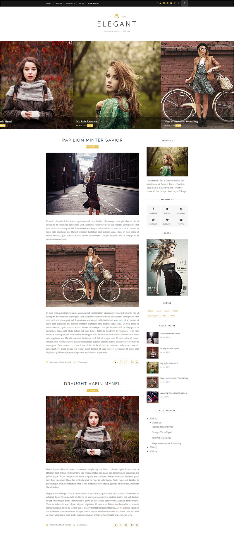 Fashion Responsive Blog Website Template