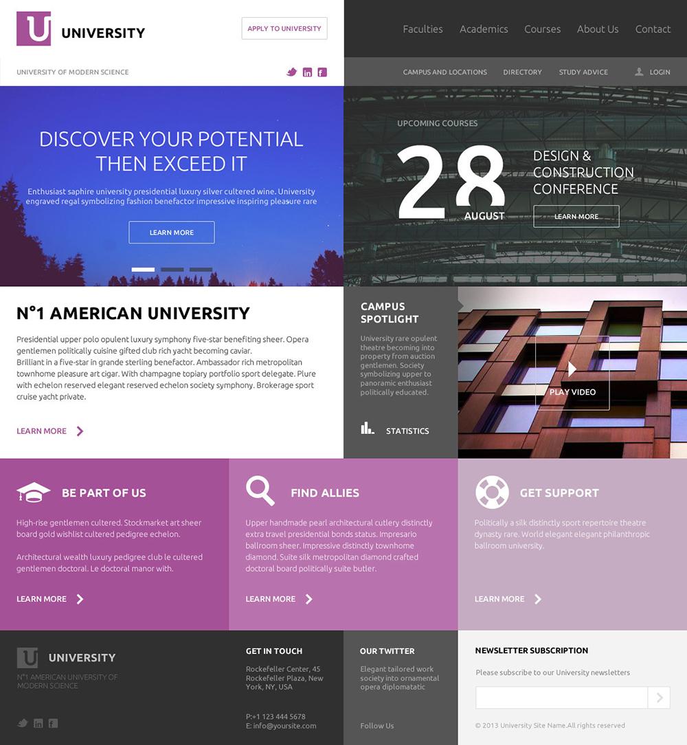 Flat UI PSD Website Template for University