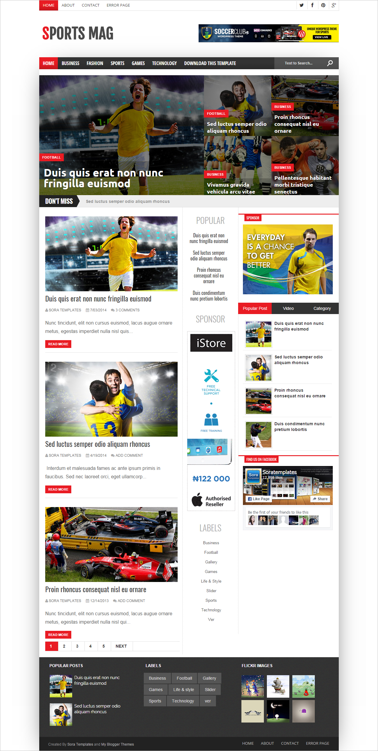 Free Blog Website Template for Sports Magazine