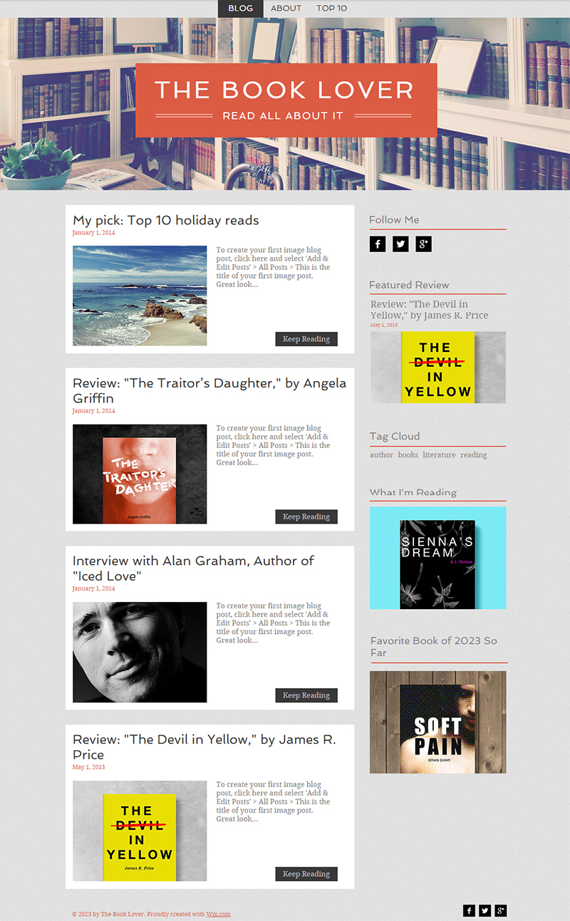 Free Blog Website Template