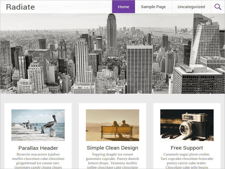 Free Creative WordPress Template with Parallax Header