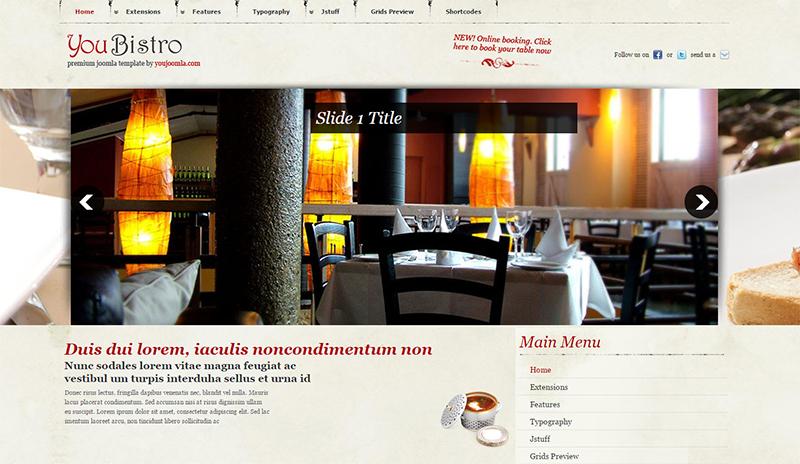 Free Joomla Restaurant Templates Download