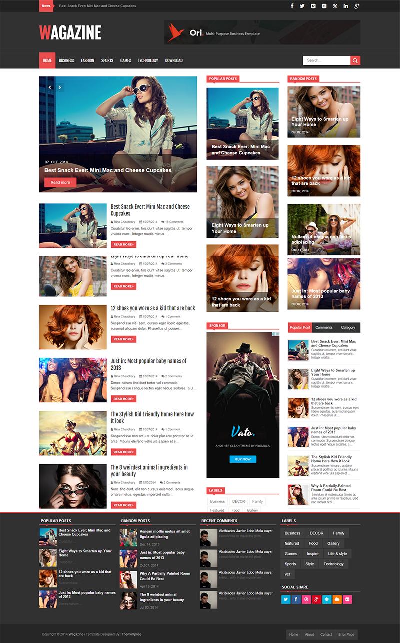 Free Responsive Blog Website Template for Magazine