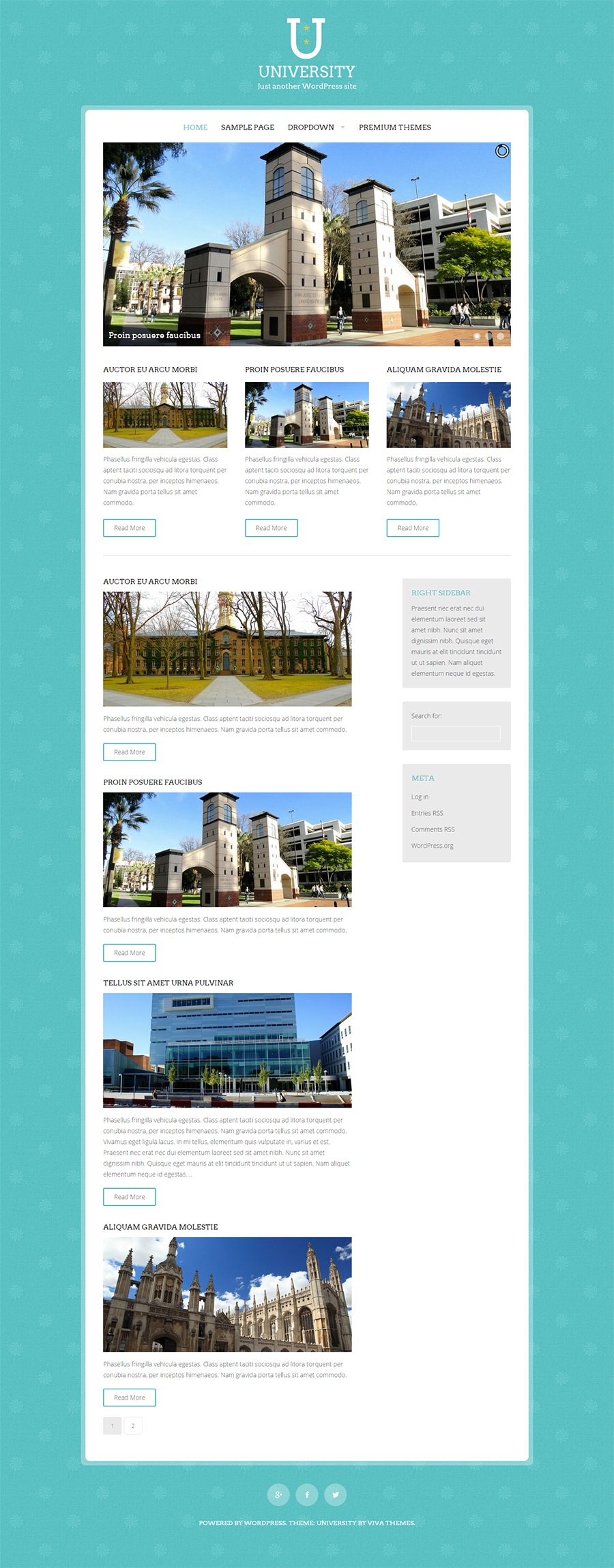 Free WordPress Theme for University
