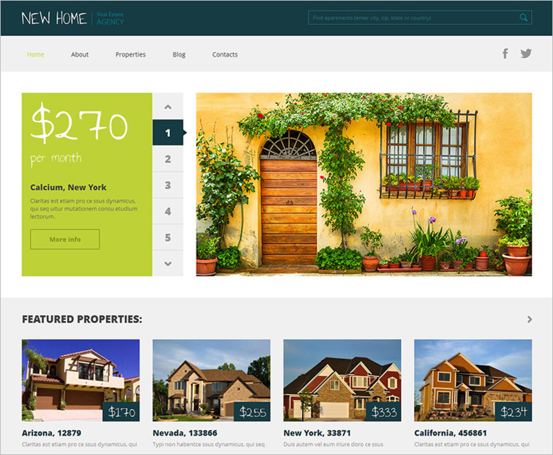 Fully Editable Responsive WP Real Estate Agency Theme