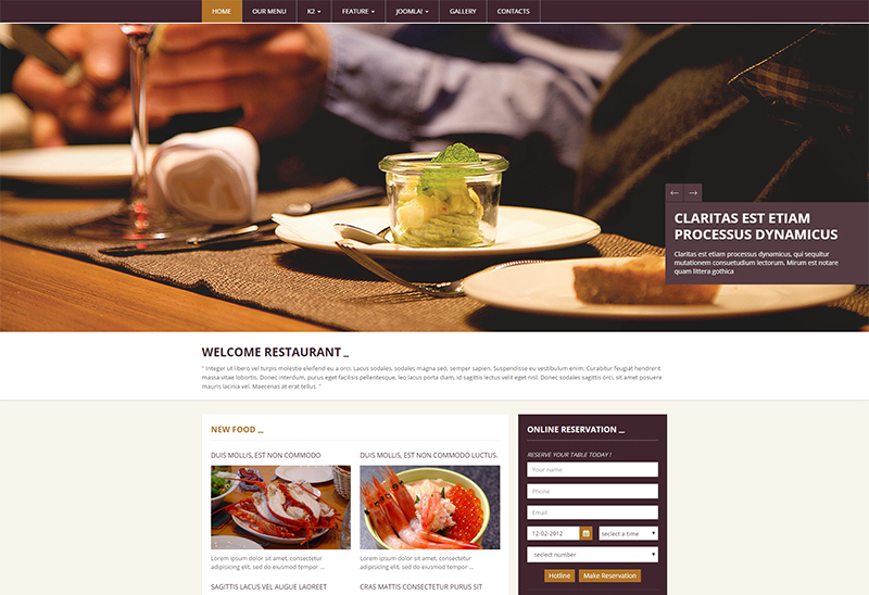 Fully Responsive Joomla Template for Restaurant Business