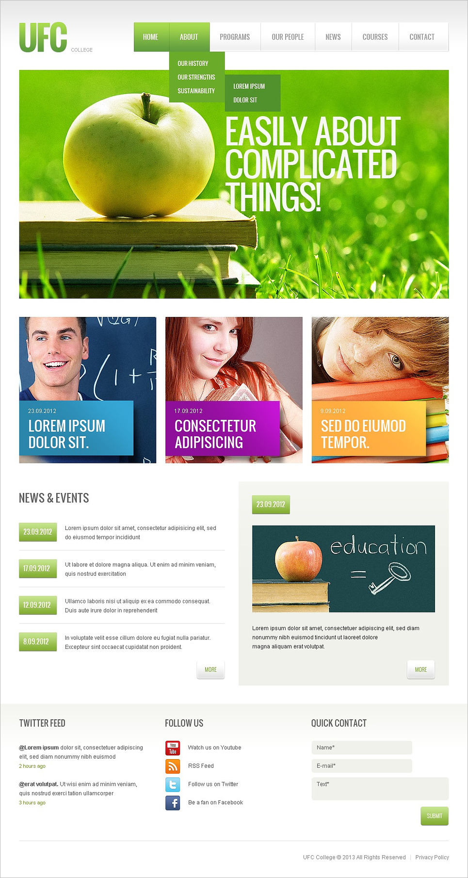 Fully Responsive Online Colleges Website Template