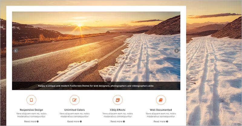 Fully customizable WordPress Full Screen Template