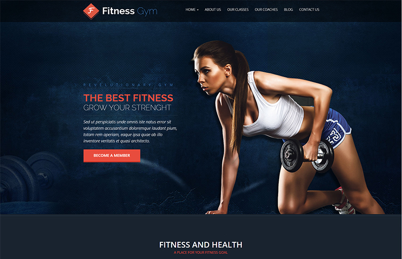 Gym & Health products Landing Page Template