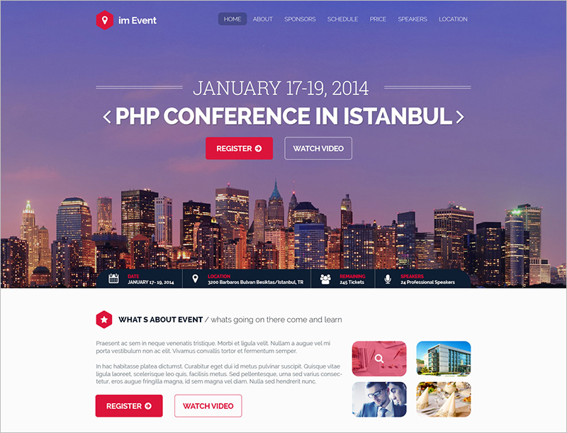 Landing Page Website Templates Free Premium - Event landing page template free