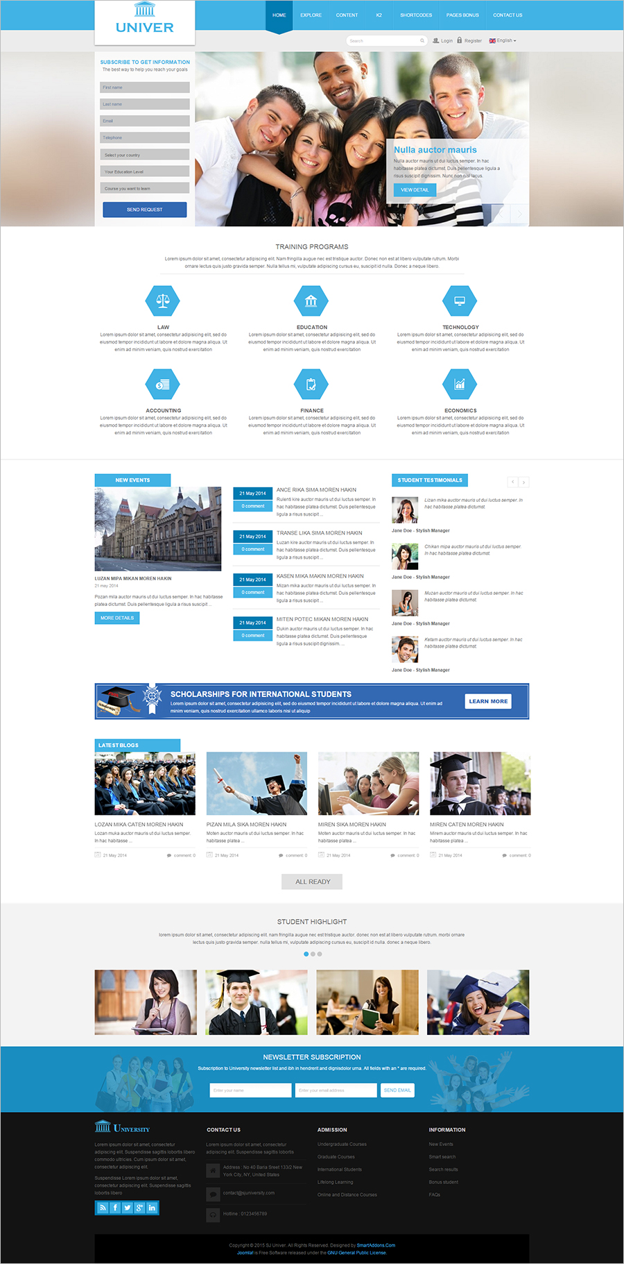 HTML5 &CSS3 University Website Template