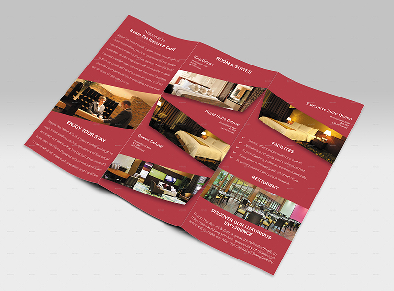 Hotel & Resort Tri Fold Brochure Template