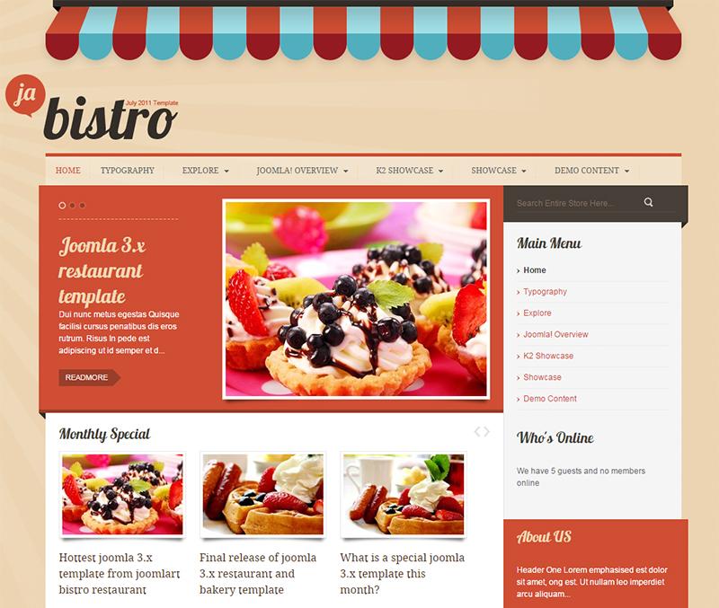 Joomla Restaurant Template Free