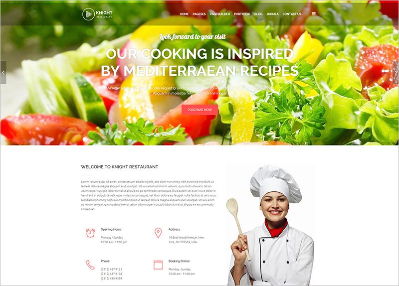 Joomla Restaurant Website Template