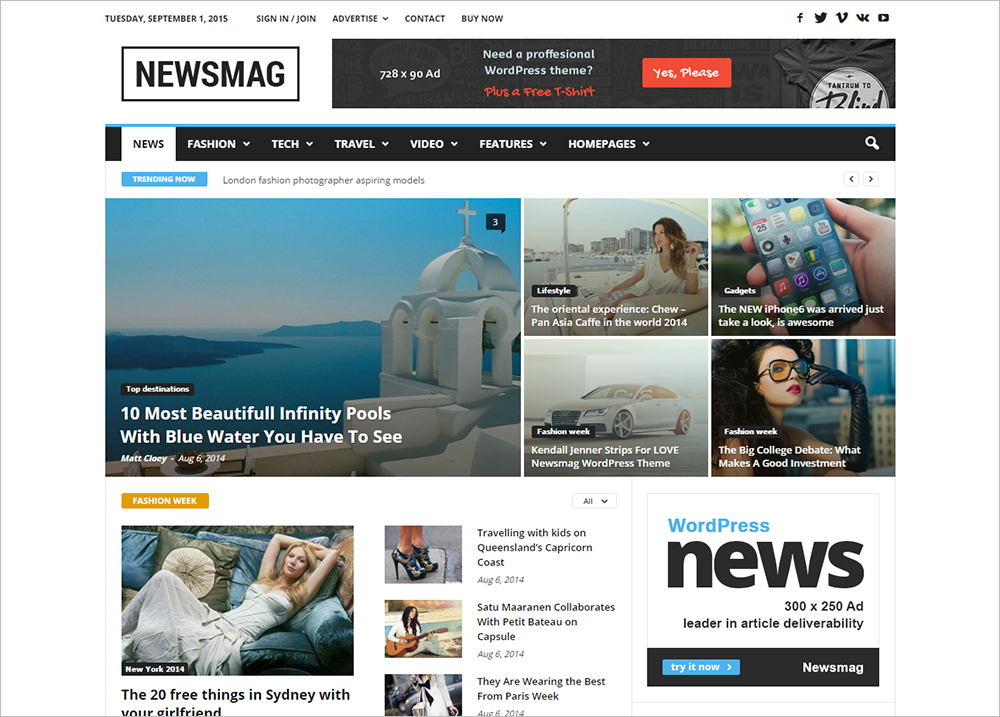 Modern WordPress Theme for Magazine Newspaper