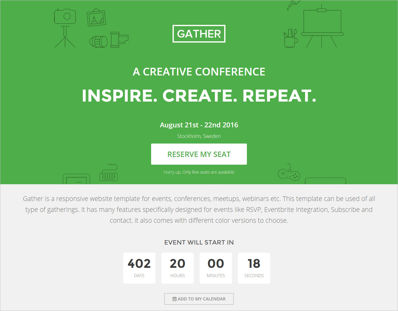 One Page Landing Page HTML Template Free Download