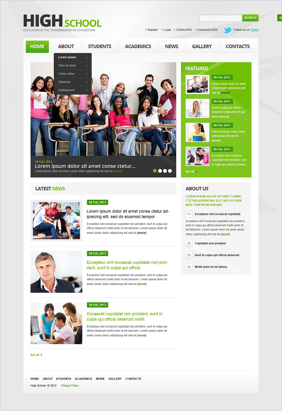 Perfect Website Template for Education