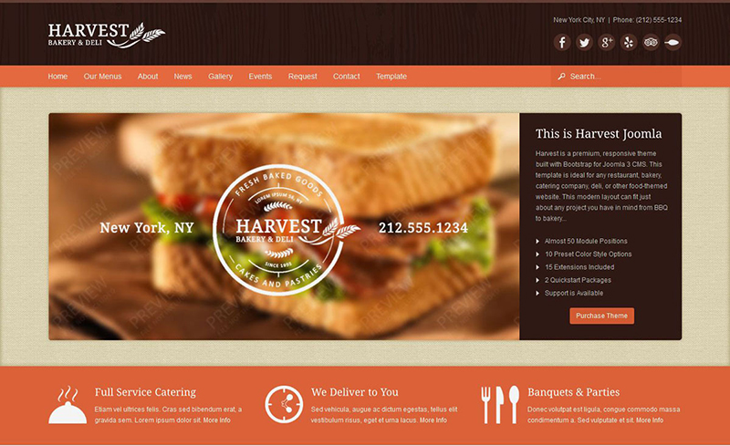 Premium Restaurant & Food Joomla Template