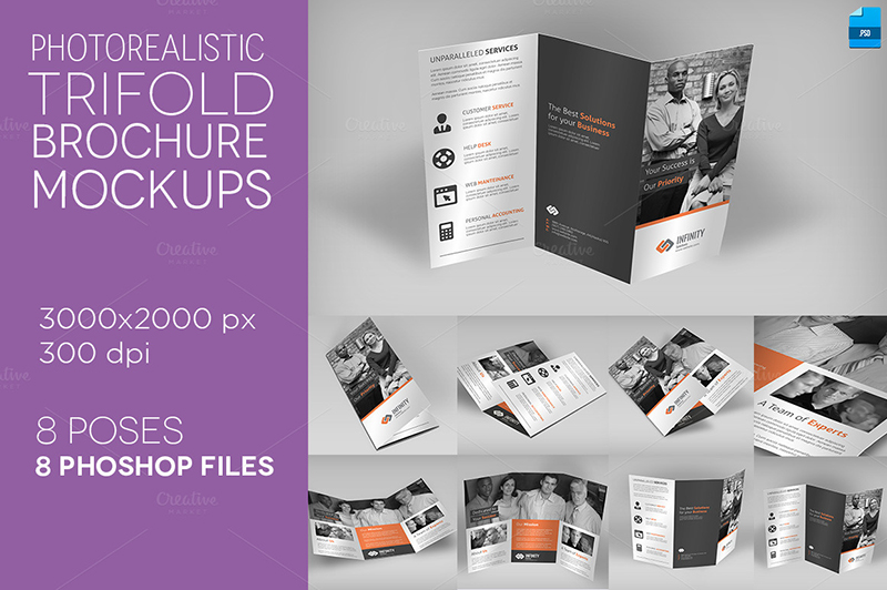 Professional Tri Fold Brochure Template for Photo Realistic