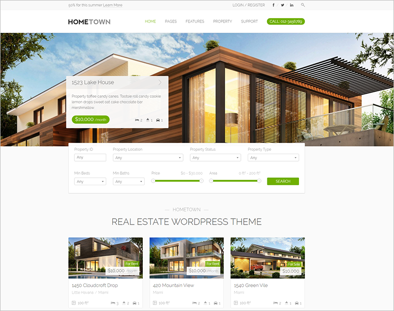 Real Estate WP Template With Compare Option