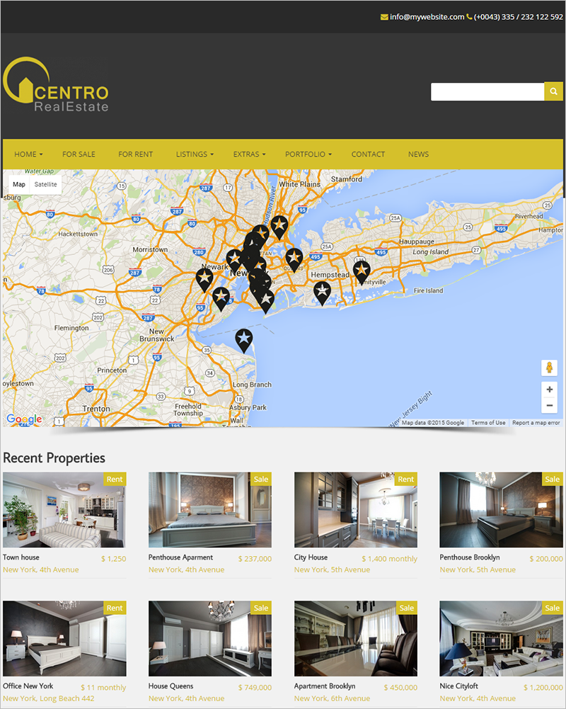 Real Estate WordPress Theme With Map Slider