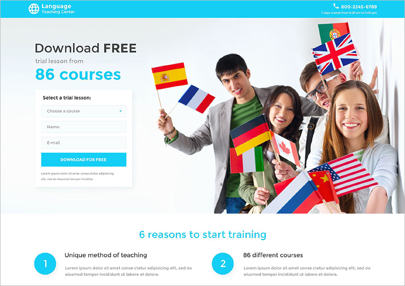 Responsive Education Landing Page Template