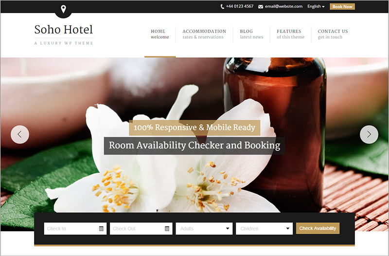 Responsive Hotel Booking WP Theme