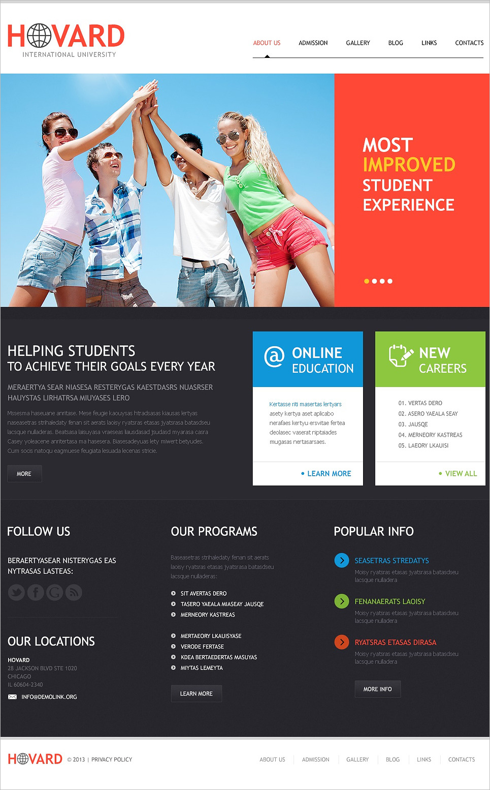 Responsive International University WordPress Template
