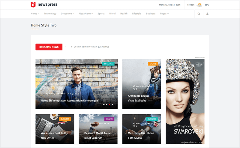 Responsive News Magazine WordPress Theme