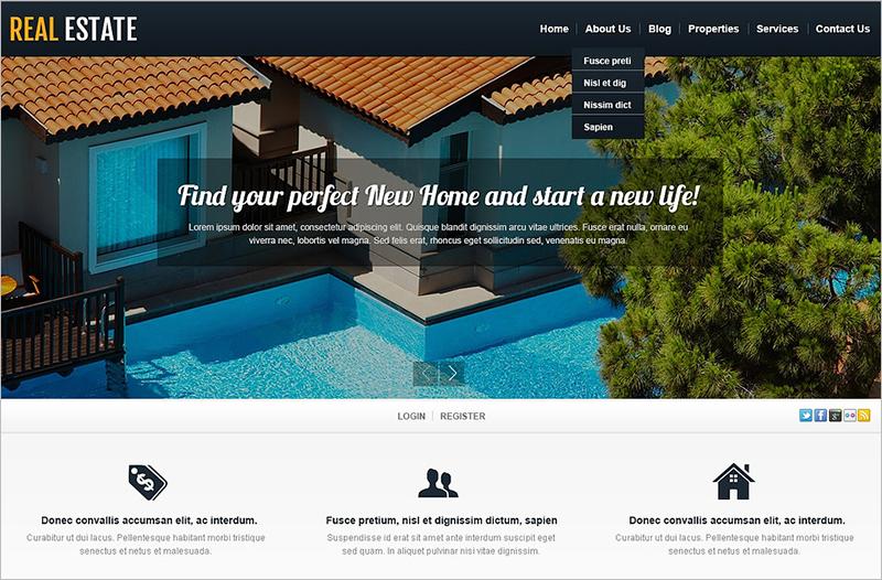 Responsive Real Estate WordPress Template