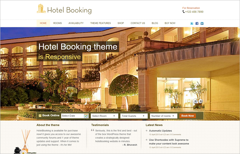 Responsive WP Hotel Booking Theme