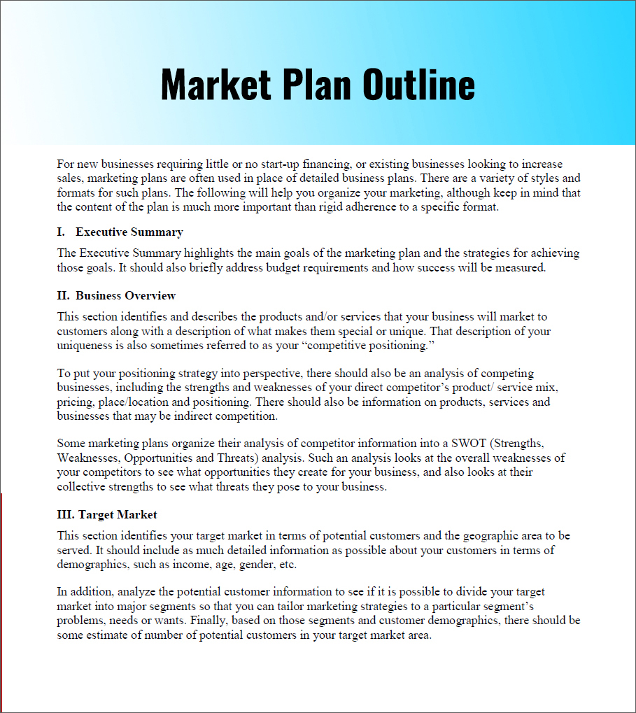free simple marketing plan template