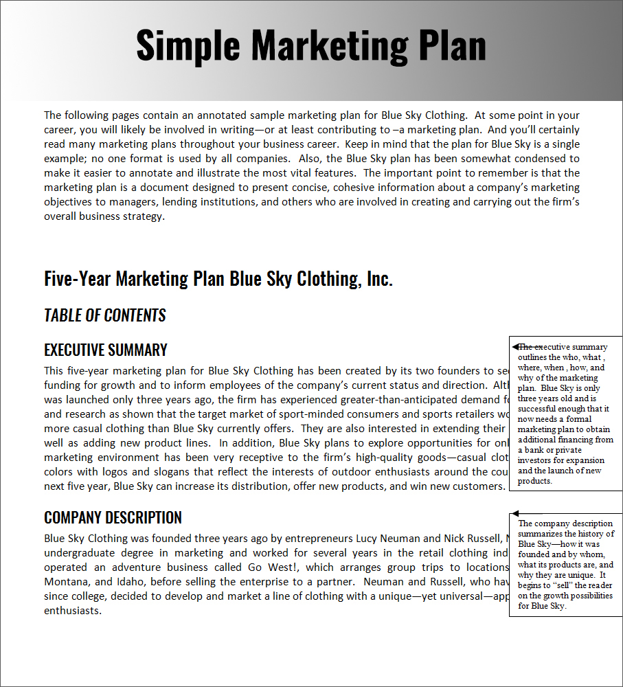 Simple Marketing Plan Word Document to Download