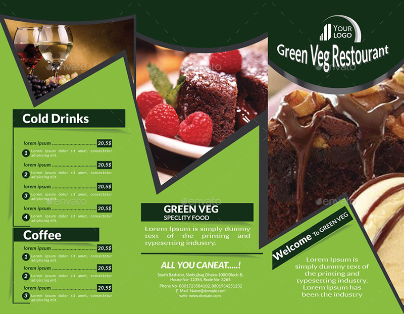 Tri Fold Brochure Templates Free Premium Creative - Food brochure templates