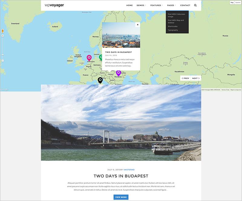 WordPress Travel Theme With Google Map API Integration