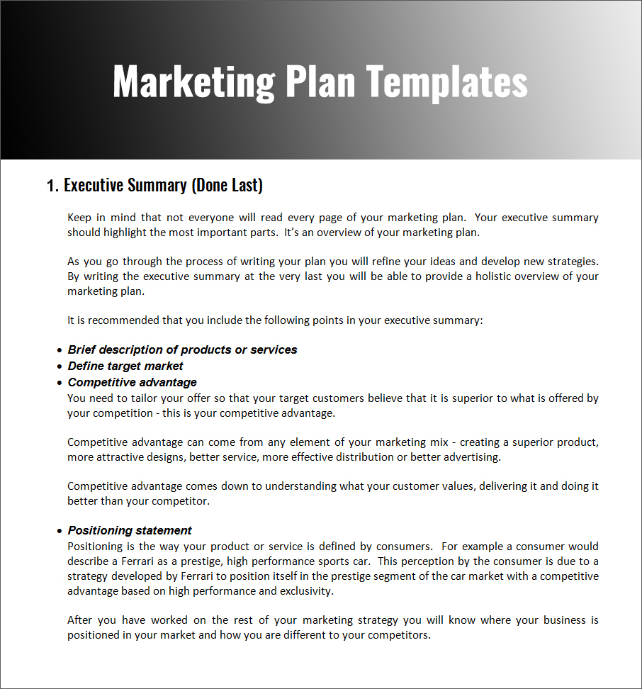 Word Document for Marketing Plan Template