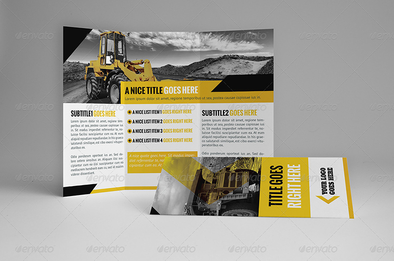 A4 & Trifold Construction Company Brochure Template