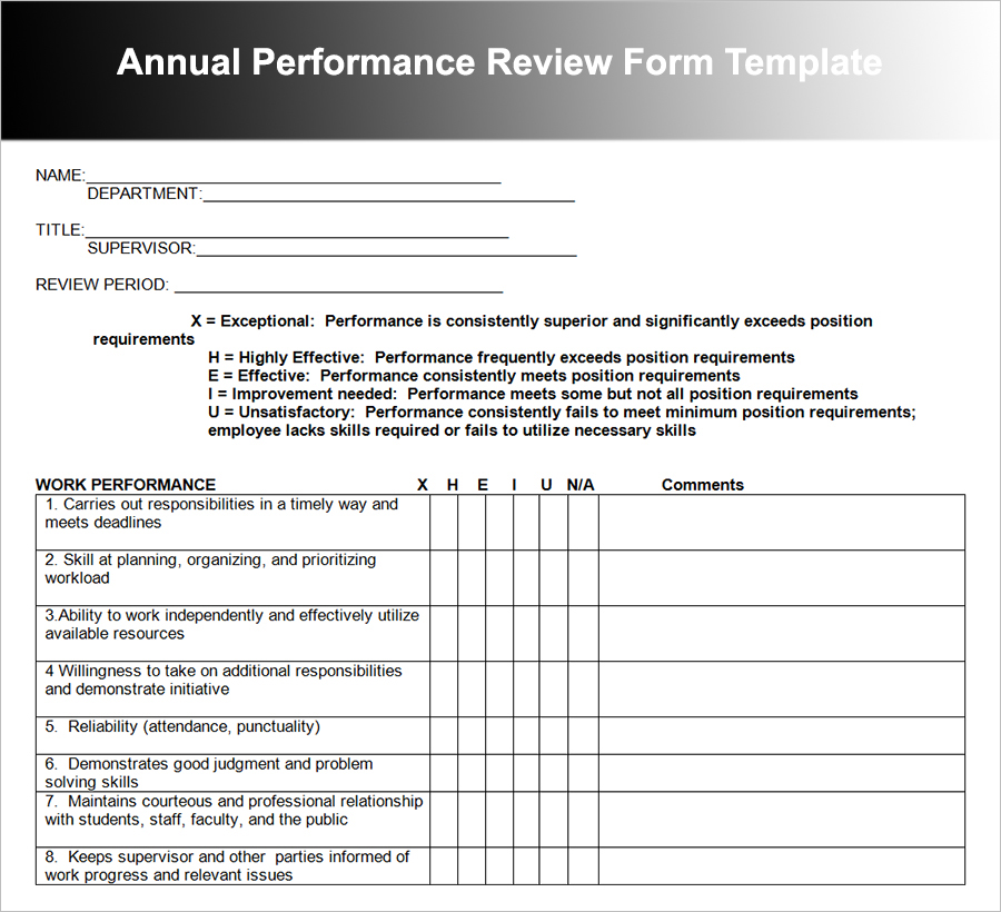 Doc12401754 Performance Review Form Template Free Employee – Free Performance Review Templates