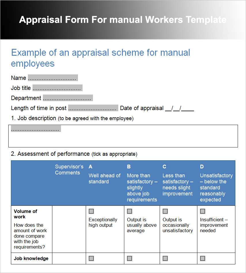Appraisal Form For manual Workers Template