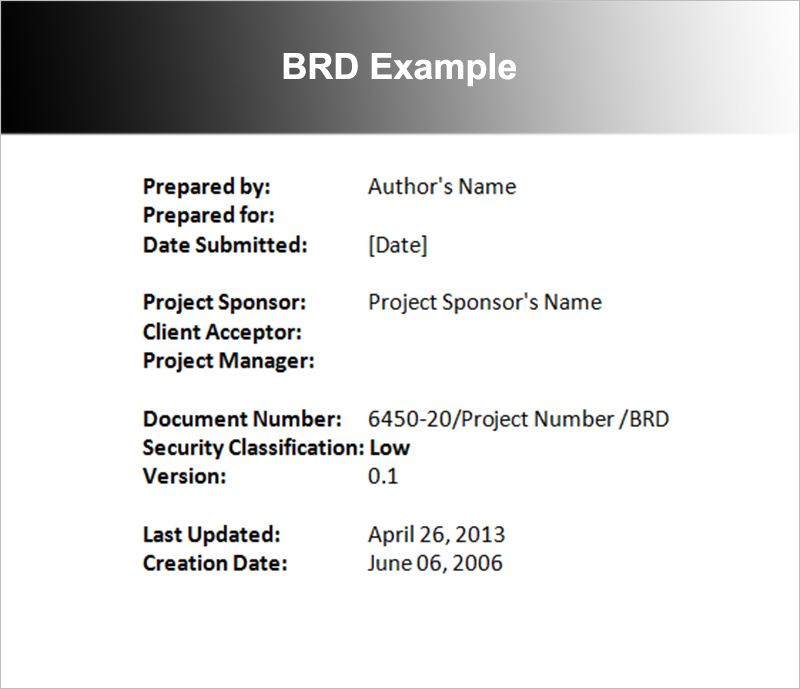 BRD Example Template