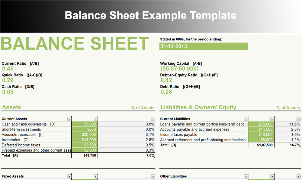 Balance Sheet Example Template