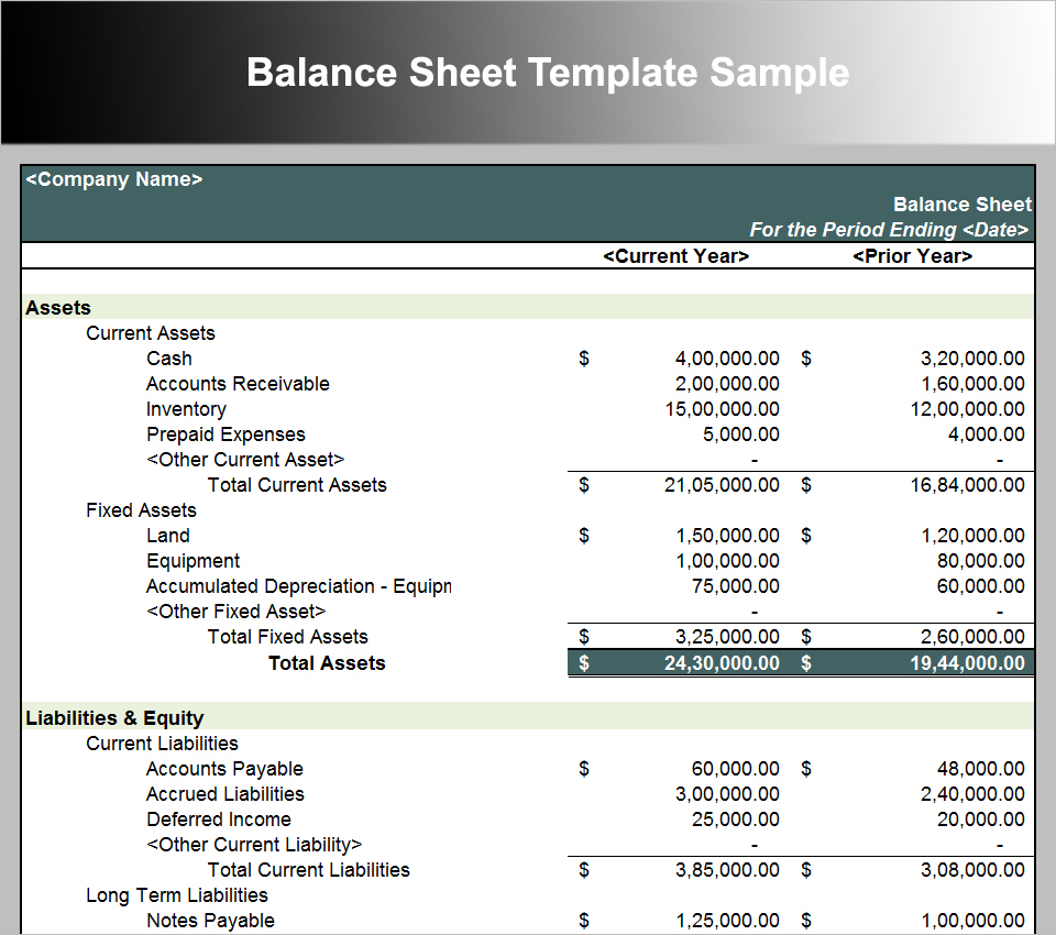Balance Sheet Template Sample